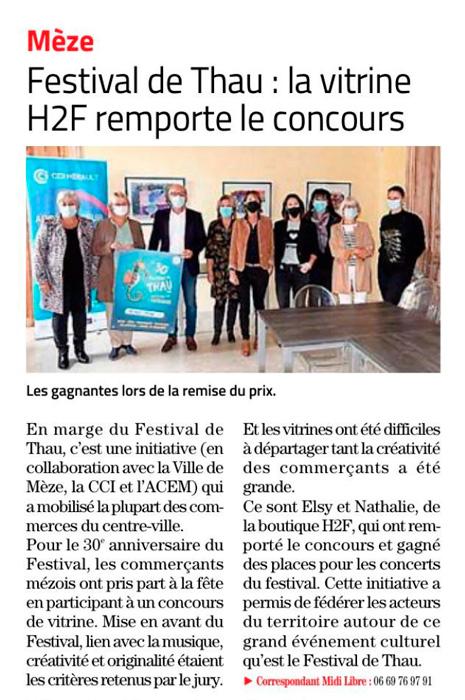 Article Midi Libre Concours de vitrines Festival de Thau 2020